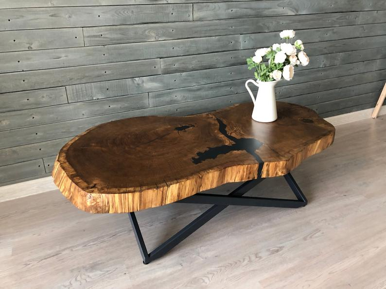 Live Edge Coffee Table Live Edge Table Covered With Natural Etsy In 2020 Raw Wood Coffee Table Live Edge Coffee Table Natural Wood Coffee Table