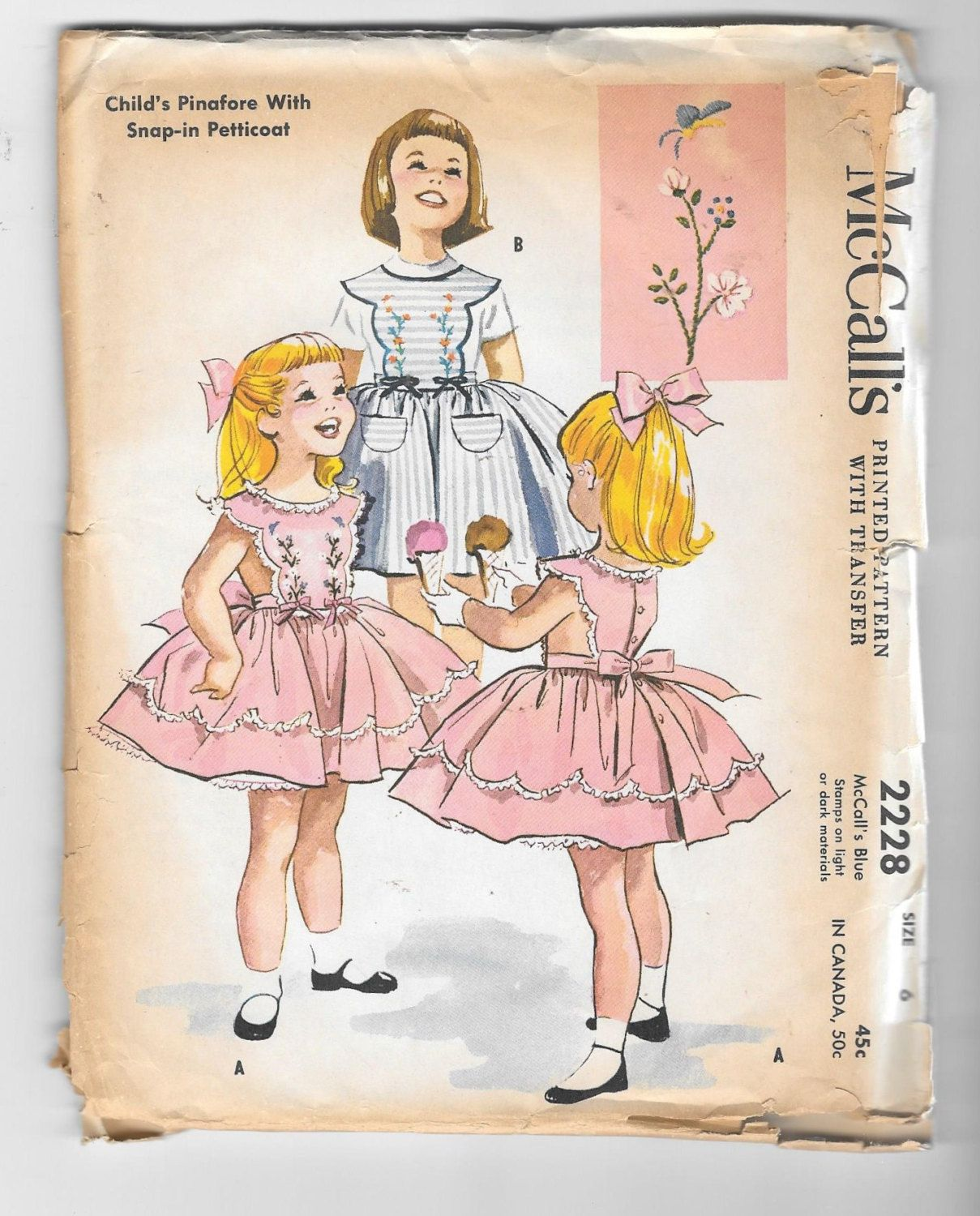 Vintage 1958 McCalls 2228 girl\'s Pinafore with Snap in Petticoat ...