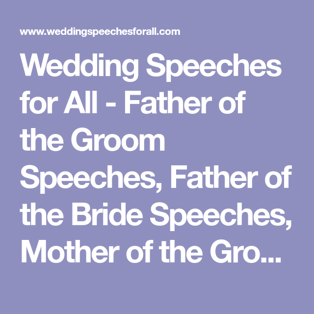Father Of The Groom Speeches