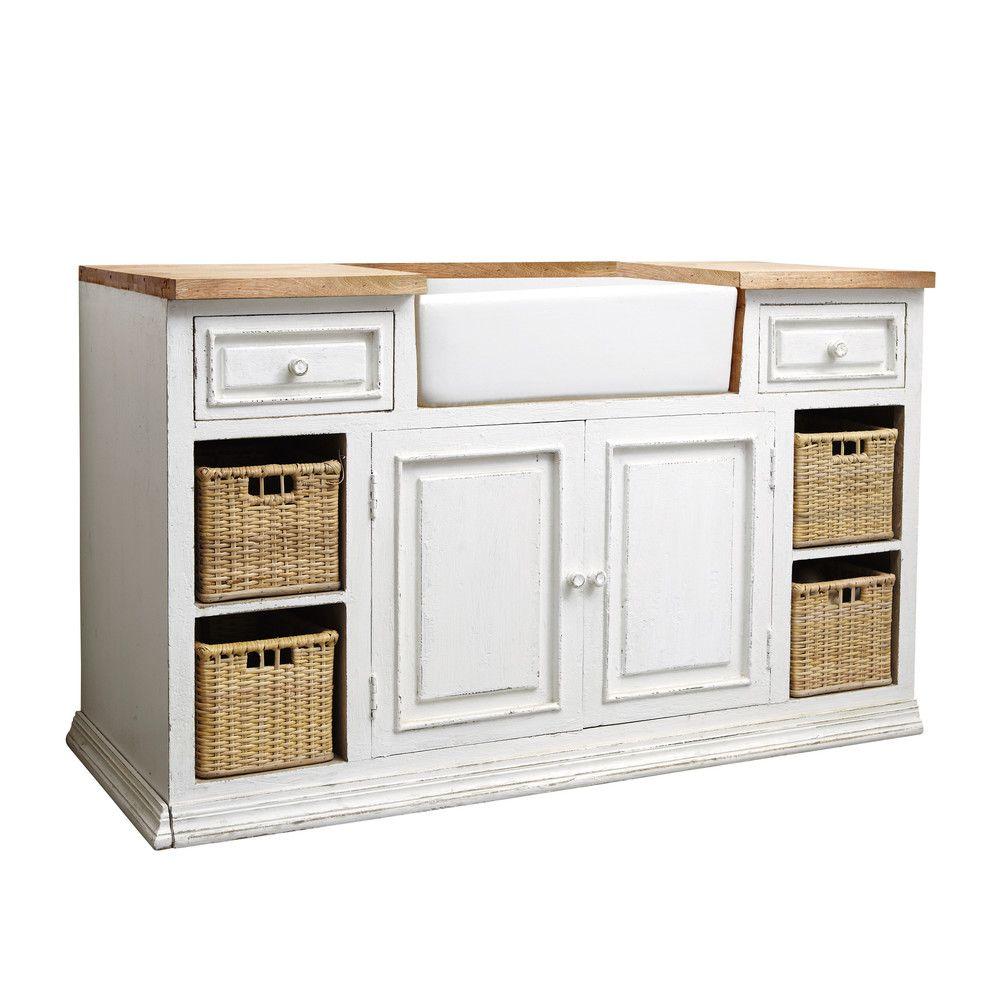 Küchenunterschrank aus Mangoholz mit Spüle, B 140 cm, weiß | Ideen ...