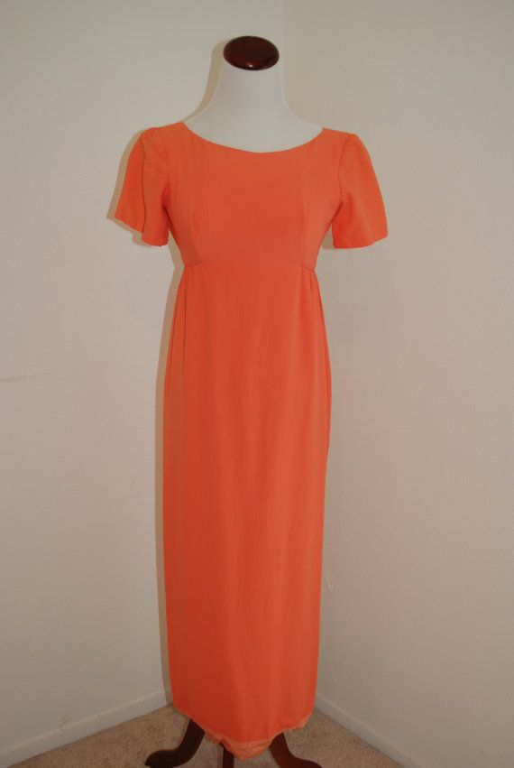 Vintage orange dress  Emma Domb of by LemonChiffonVintage on Etsy