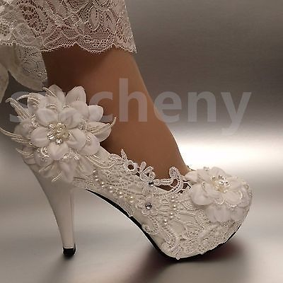 """cc10b828351c su.cheny 2 3 4"""" White ivory heels lace ribbon crystal pearl Wedding bridal  shoes in 2019"""