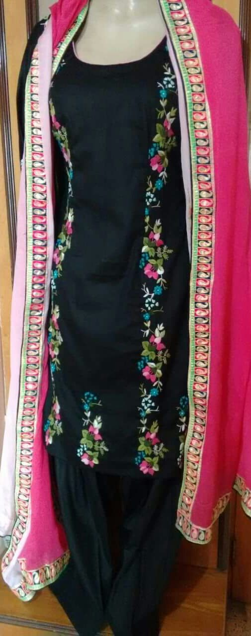 Machine embroidered cotton black suit with pink dupatta