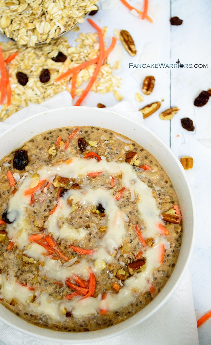 Start your day with the best bowl ever of carrot cake oatmeal. Packed with fiber, protein, healthy fats and all the fun toppings, this carrot cake oatmeal will have you easily turning down those muffins. Vegan, dairy free, gluten free and so simple, this carrot cake oatmeal recipe will be your favorite new way to make oats! | www.pancakewarriors.com