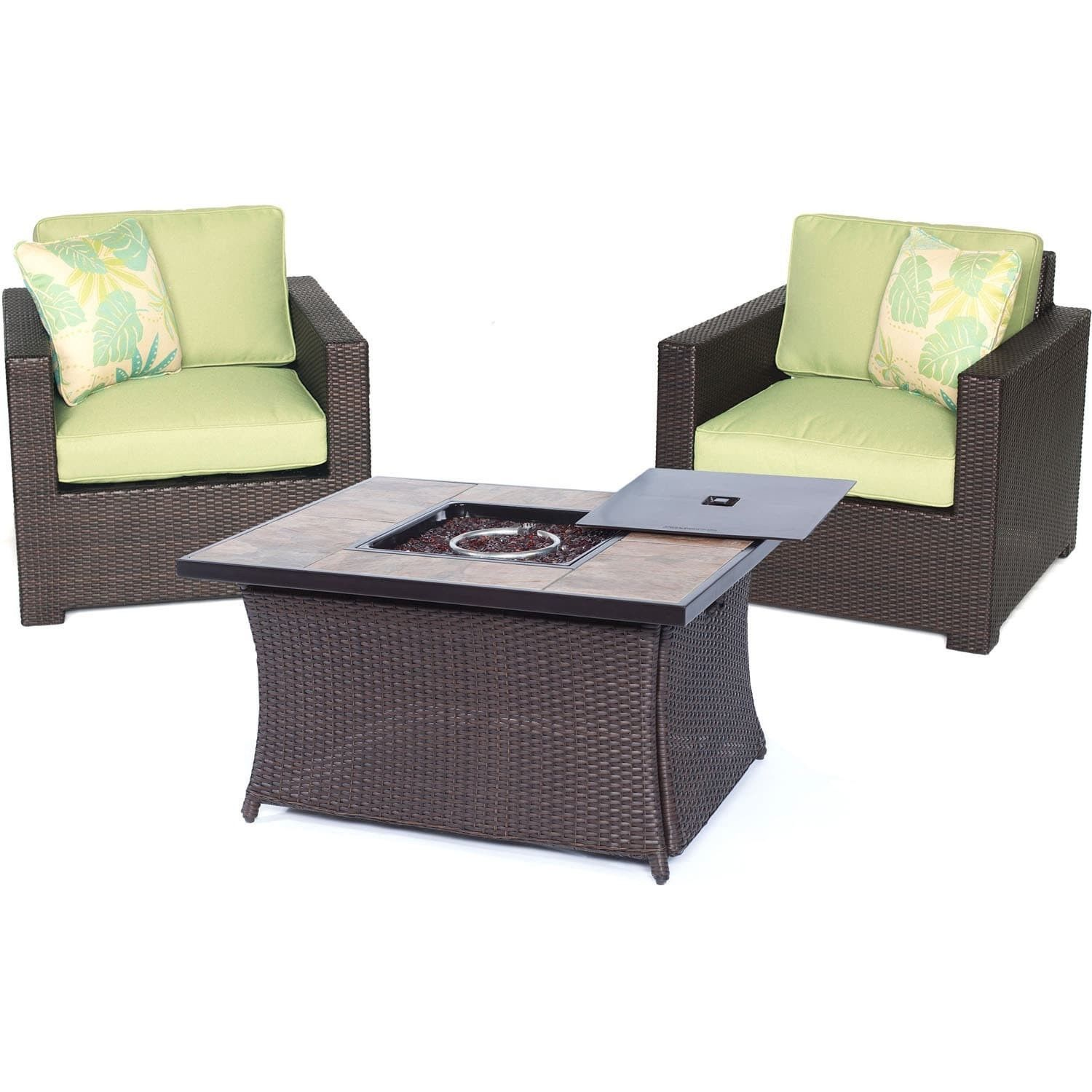 hanover outdoor metropolitan three piece chat set with lp gas fire