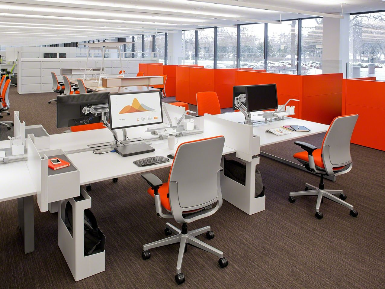 Open plan benching with personal storage and computer Open office furniture