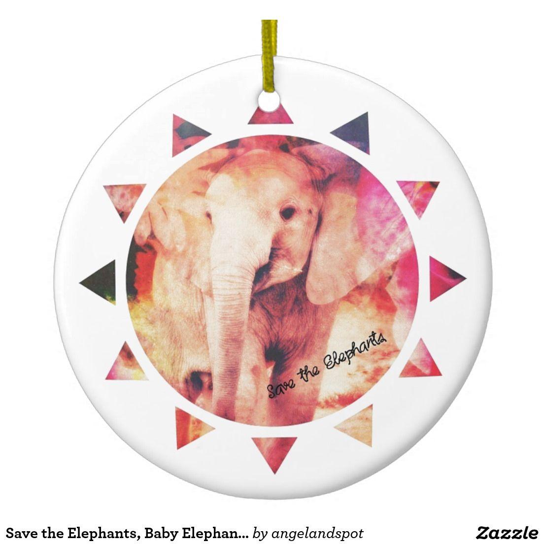 Save the Elephants, Baby Elephant Sun Digital Art Double-Sided Ceramic Round Christmas Ornament