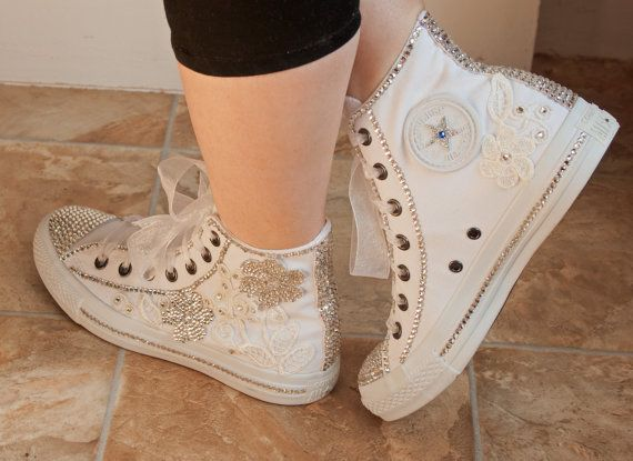 777d31ef2fc3e3 Romantic wedding converse High top wedding by TheCherishedBride ...