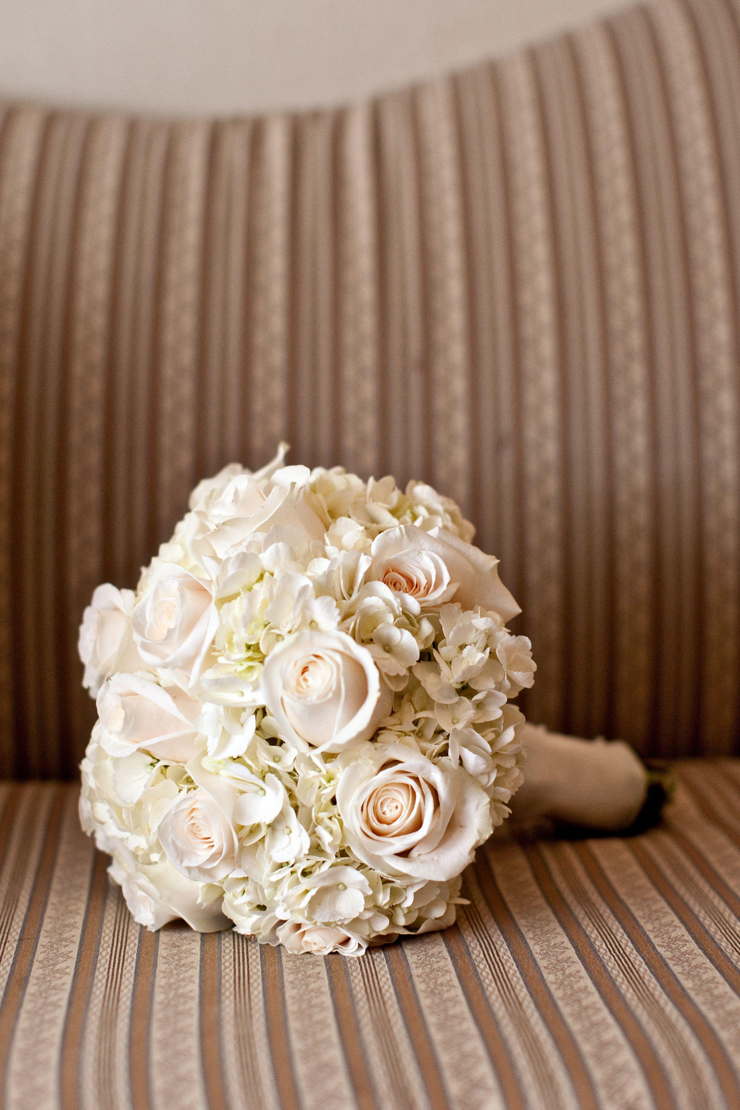 My Bouquet Cream Colored Roses And White Hydrangea Hydrangea