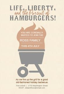 the pursuit of hamburgers 4th of july invitation 4th of july