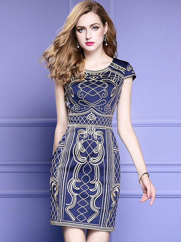 2c067a5a52 Vinatge O-Neck Short Sleeve Embroidery Bodycon Dress from DressSure.com   dresssure  fashion  dresses  HighQuality