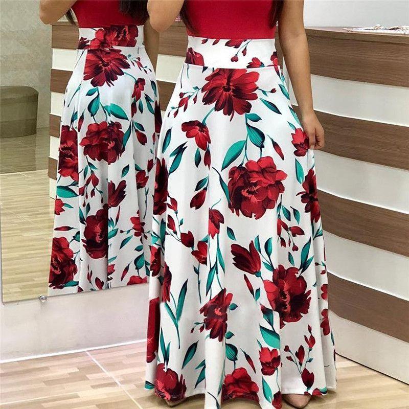 Long Sleeve Boho Print Long Maxi Ladies Casual Dress Fashion Floral Dresses for Women