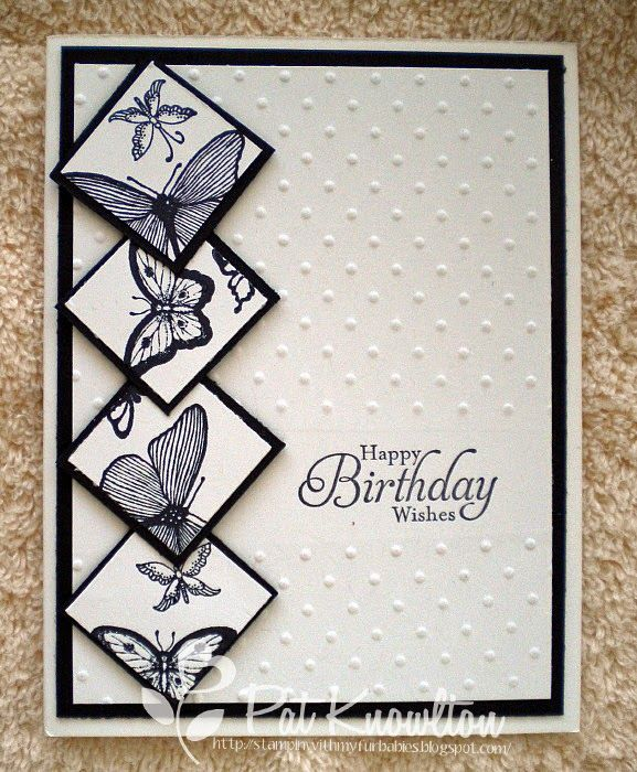 Stampn' Up! ... handmade birthday card ... black and white ... column of inchies on end ... like the butterflies going off the edges ... like it!