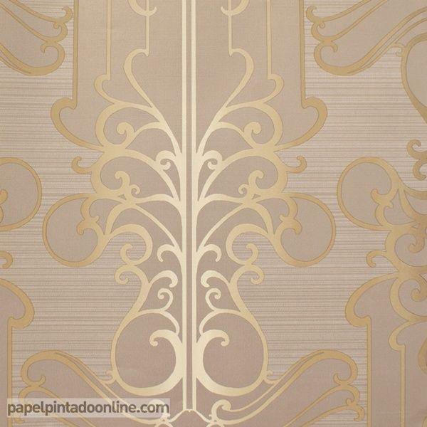 papel pintado paris rs71406 con rayas horizontales poco marcadas en color marrn y dibujo dorado - Papel Pintado Rayas Horizontales