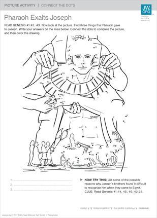 Pharaoh Exalts Joseph Bible Activities Joseph In Egypt Bible