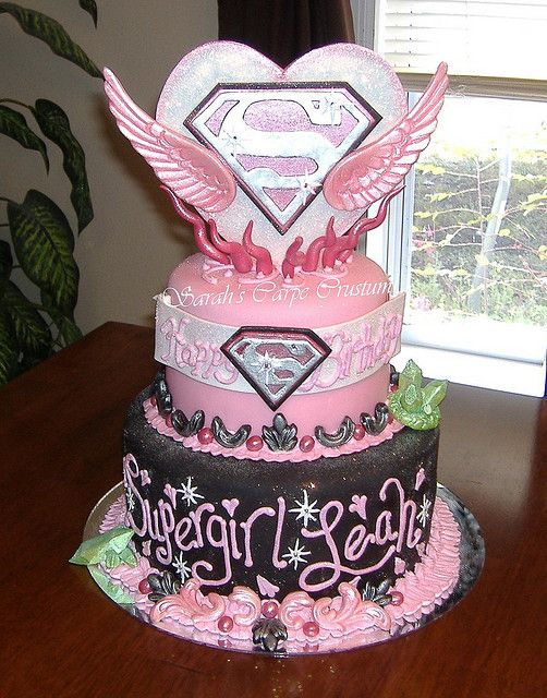 Leah 6th Super Girl B-day cake by -sadsmile, via Flickr