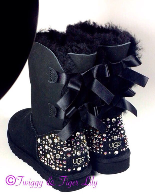 5ef5d172d7e EXCLUSIVE - Swarovski Crystal Embellished Bailey Bow Uggs in Sparkly ...