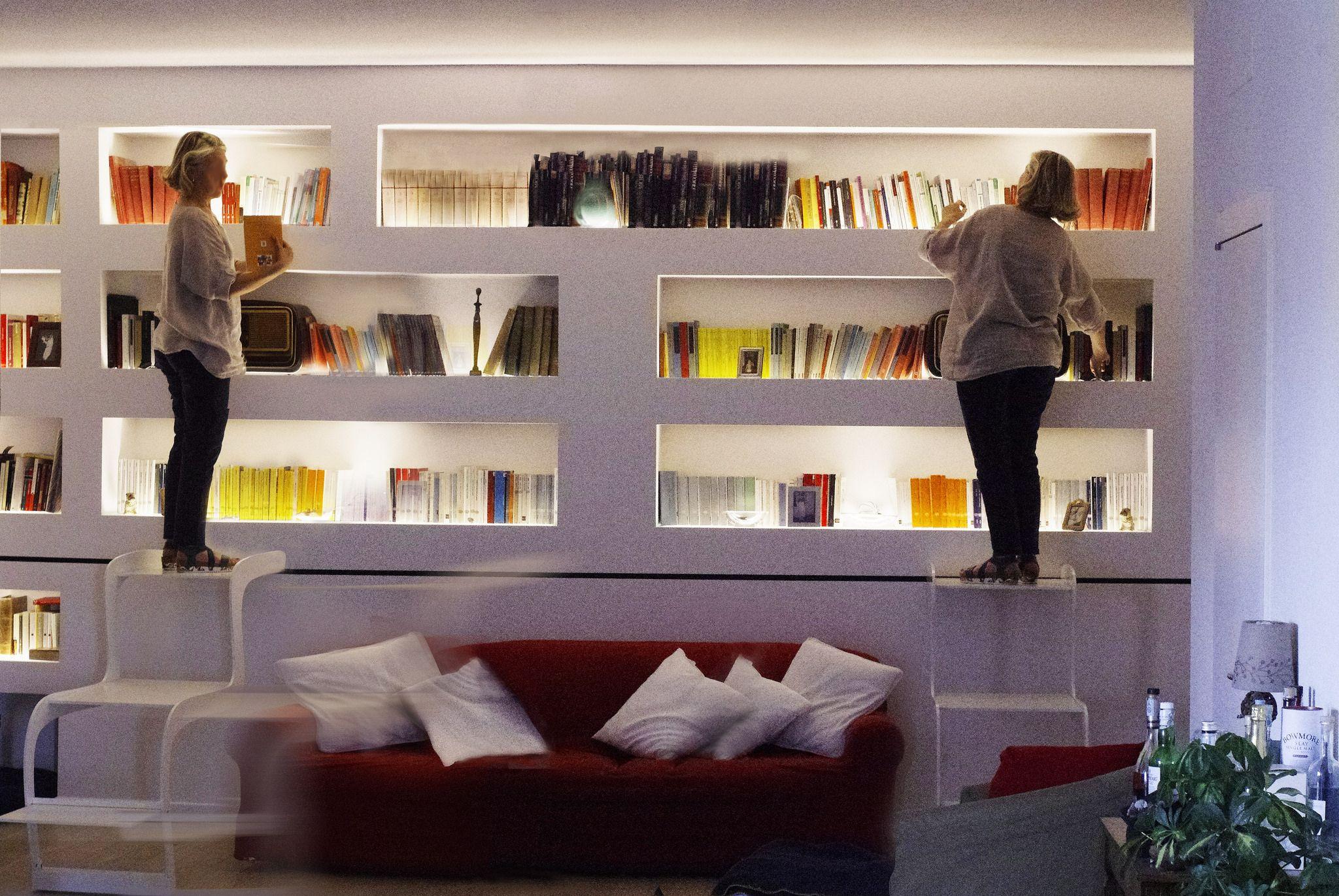 Mensole In Cartongesso Ad Angolo scrivania con libreria sopra