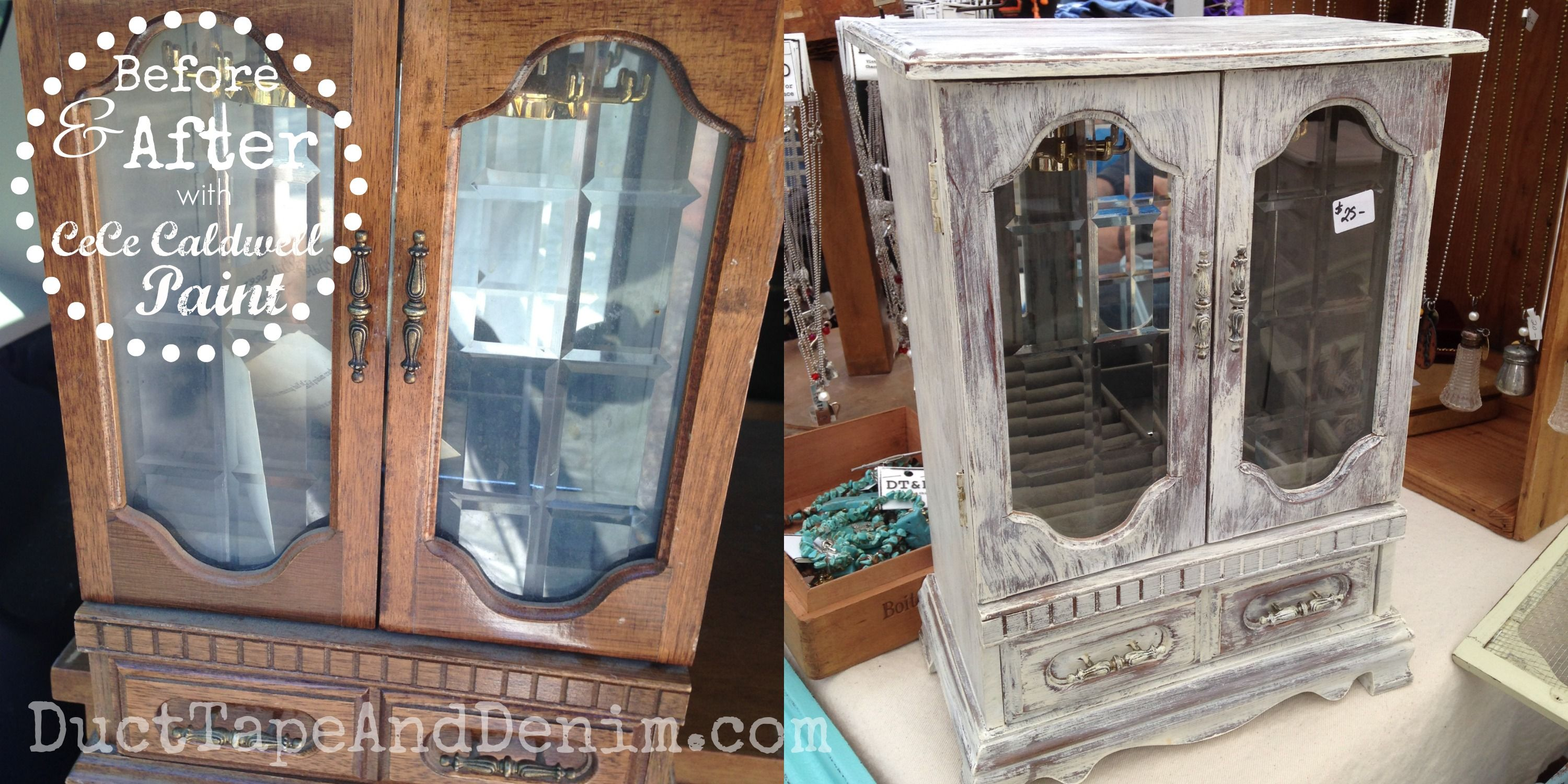 Before and after jewelry cabinet dry brush painted with CeCe Caldwell paints in Vintage White | DuctTapeAndDenim.com
