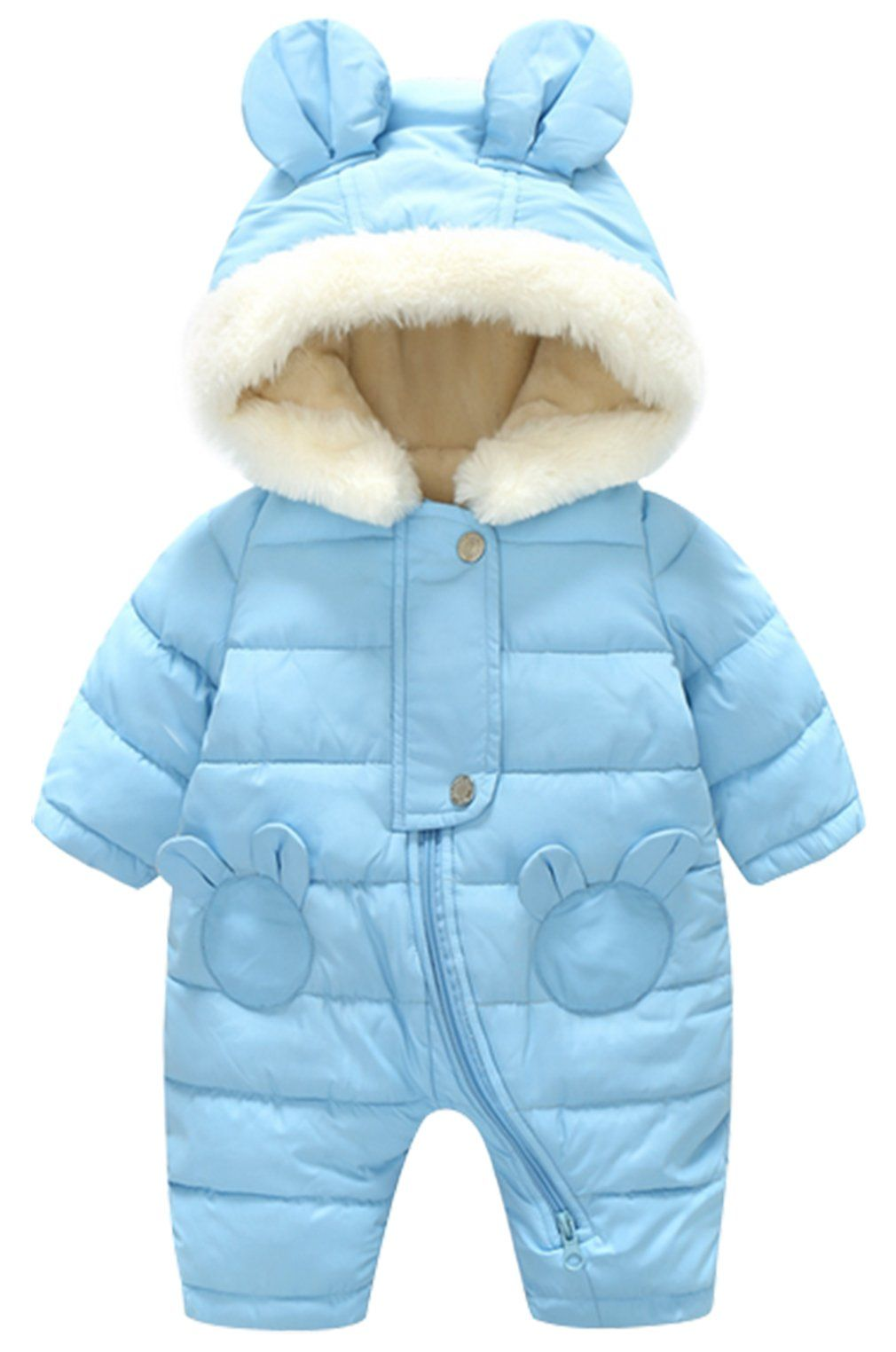 6705c26c19e3 Newborn Baby Girls Thick Down Cartoon Bear Ear Romper Snowsuit ...