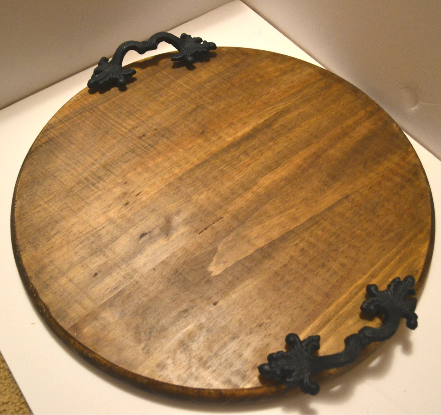 Round Wood Tray Large Serving Rustic