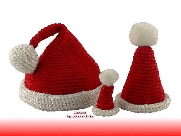 Weihnachtsmützen 3 Größen für Amigurumis -- Häkelanleitung ...
