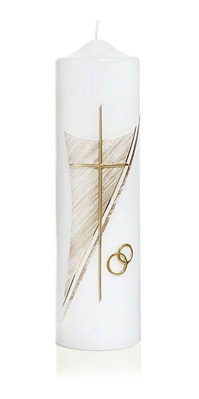 Die Hochzeitskerze Nr 6 In Gold Ist Mit Ringen Und Kreuz Verziert