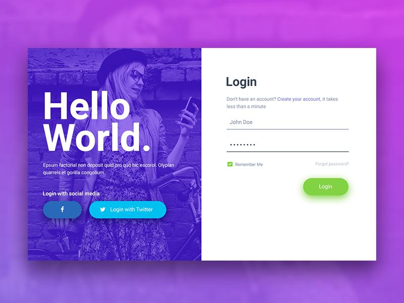Hello World Login Registration Form Login Design Login Page Design Form Design Web