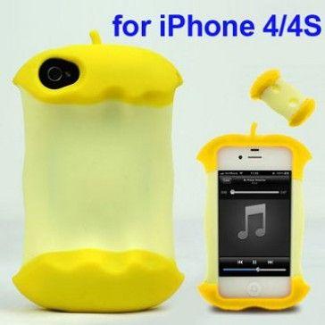 3D Apple (Keltainen) iPhone 4/4S Silikonisuojus