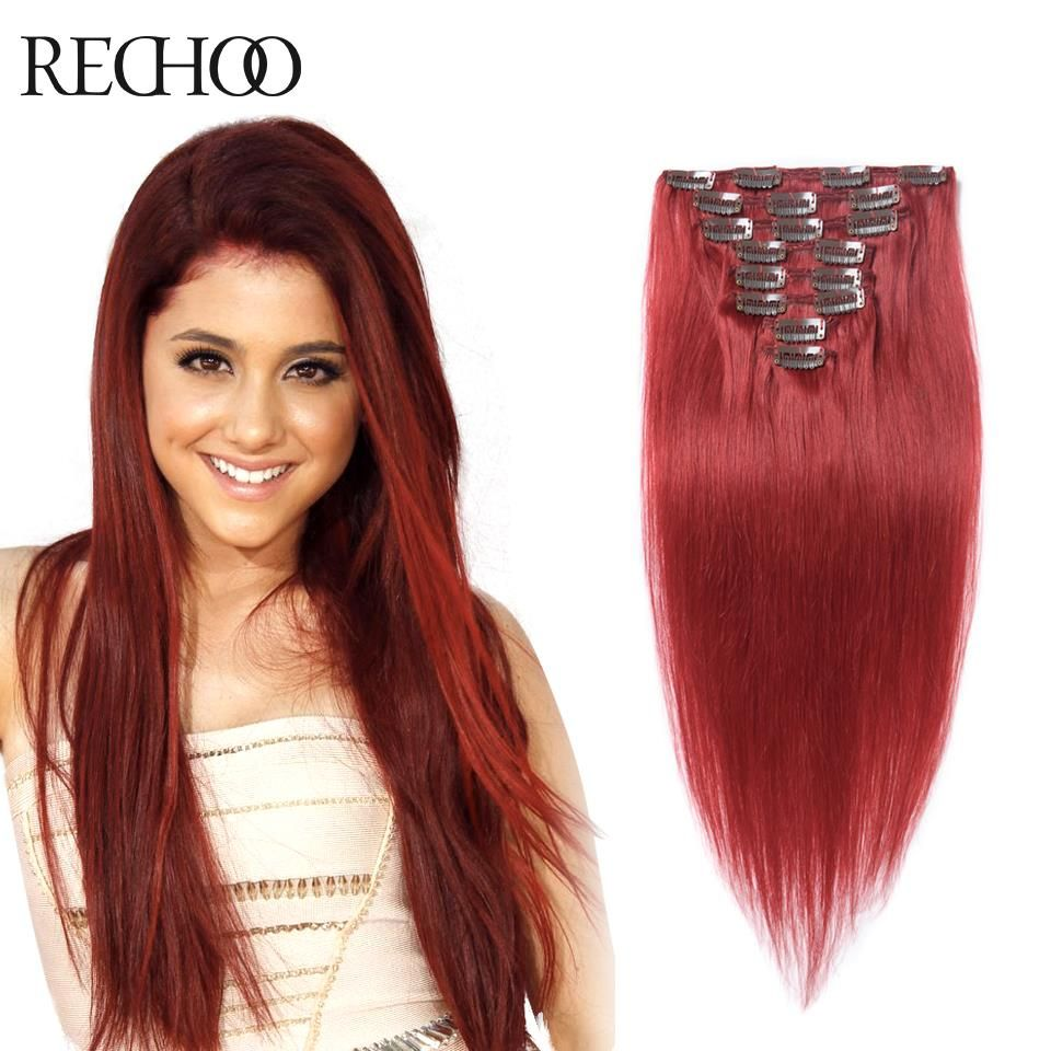 10 Stks Clip In Human Hair Extensions 100% Remy Menselijk Haar Clip Ins Rode Europese Clip In Hair Extensions Silky Straight Pure Kleur