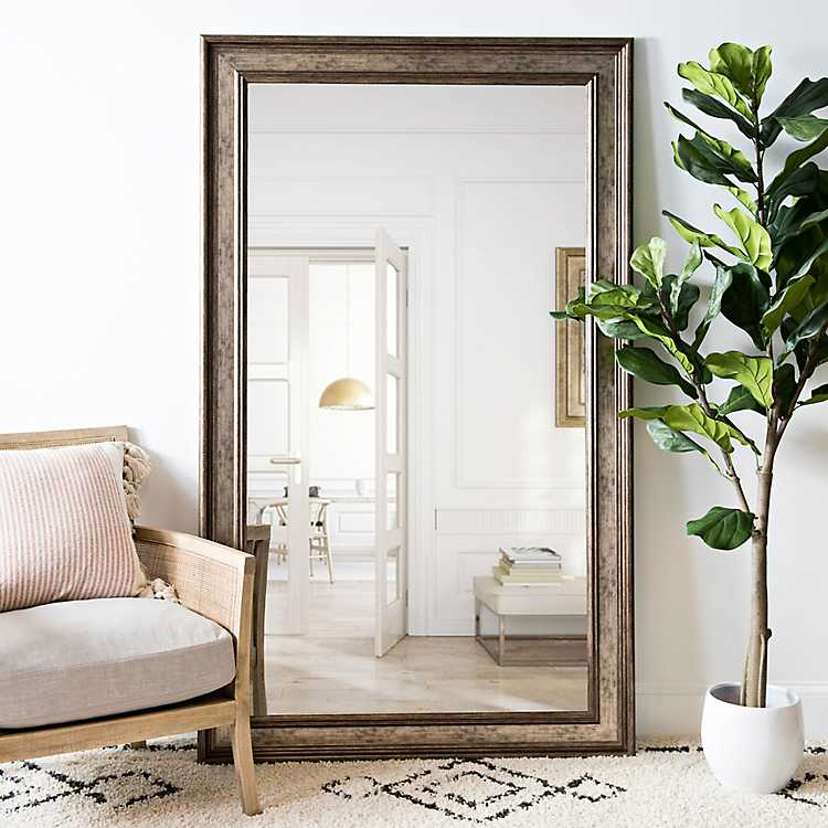 Textured Silver Framed Mirror 45 4x75 4 In Love The Look Of A Large Leaning Mir Living Room Mirrors Wall Mirror Decor Living Room Accent Mirror Living Room