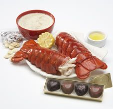 Sweetheart Cove for Two Dinner for two (16-20.oz. tails) Two cold-water lobster tails from the North Atlantic. Then warm-up with our clam chowder for two. And for the grand finale our heart-shaped chocolate truffles.