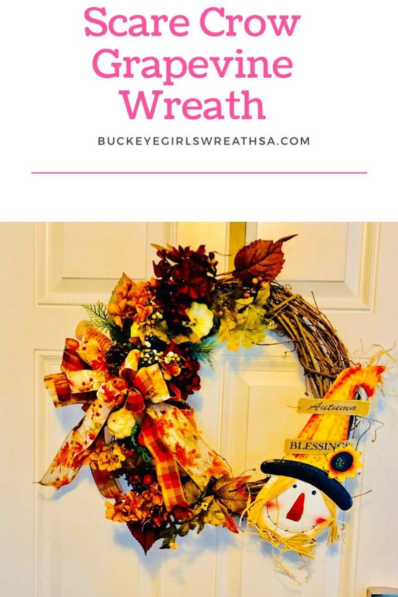 Fall scarecrow wreath , Autumn scarecrow wreath