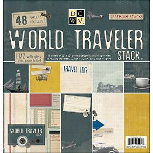 """Die Cuts with a View World Traveler Paper Stack 12"""" x 12"""""""