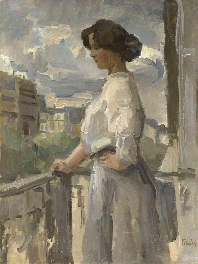 Isaac Israels, Jonge vrouw op een balkon in Parijs. Formaat: 78,5 x 56,5  cm. Gesigneerd: gesigneerd rechtsonder. | Arte, Opere d'arte, Dipinti