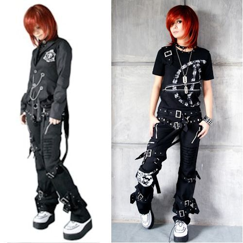 Black Cyber Goth Punk Rock Casual Pants Trousers Clothing ...