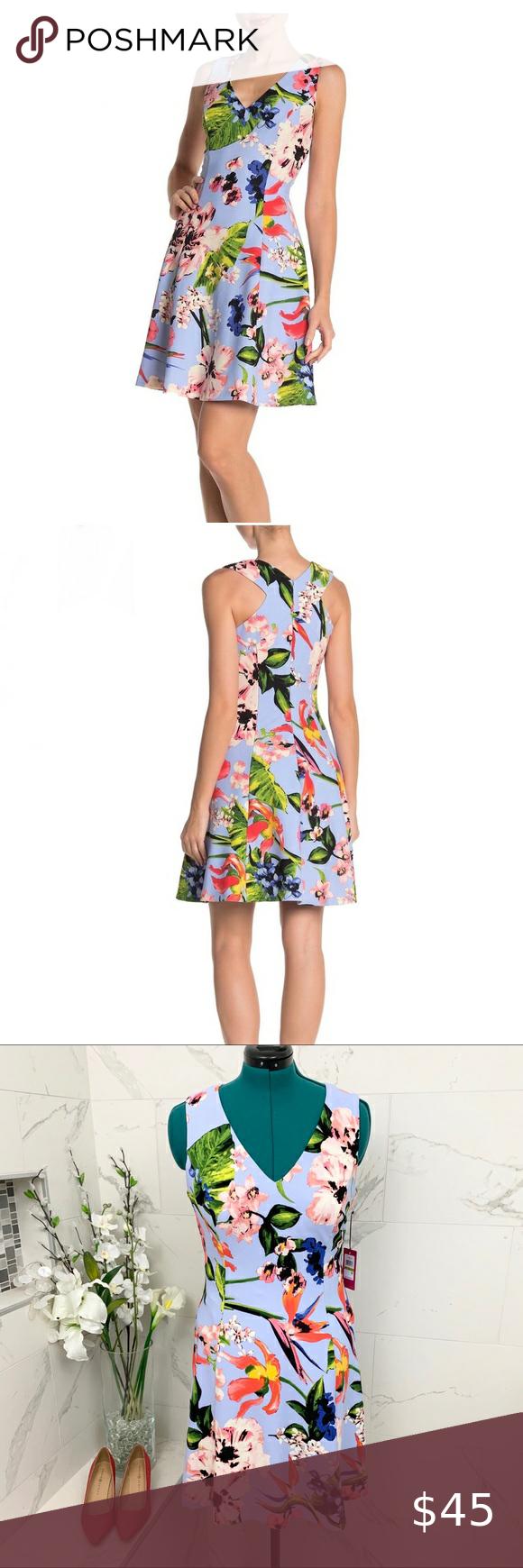 Vince Camuto Dress V Neck Sleeveless Floral 14 Nwt Vince Camuto Dress V Neck Sleeveless Floral 14 Nwt Periwinkle Blue Vince Camuto Dress Dresses Clothes Design [ 1740 x 580 Pixel ]