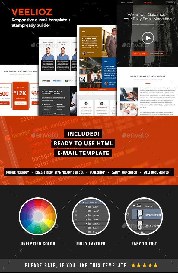 Psd Html Stampready Builder Veelioz Email Template Pack