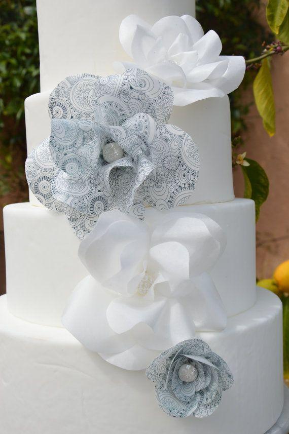 Wafer paper flower wedding cake cake beautiful handmade wafer wafer paper flower wedding cake cake beautiful handmade wafer paper flowers from decoreats on etsy mightylinksfo