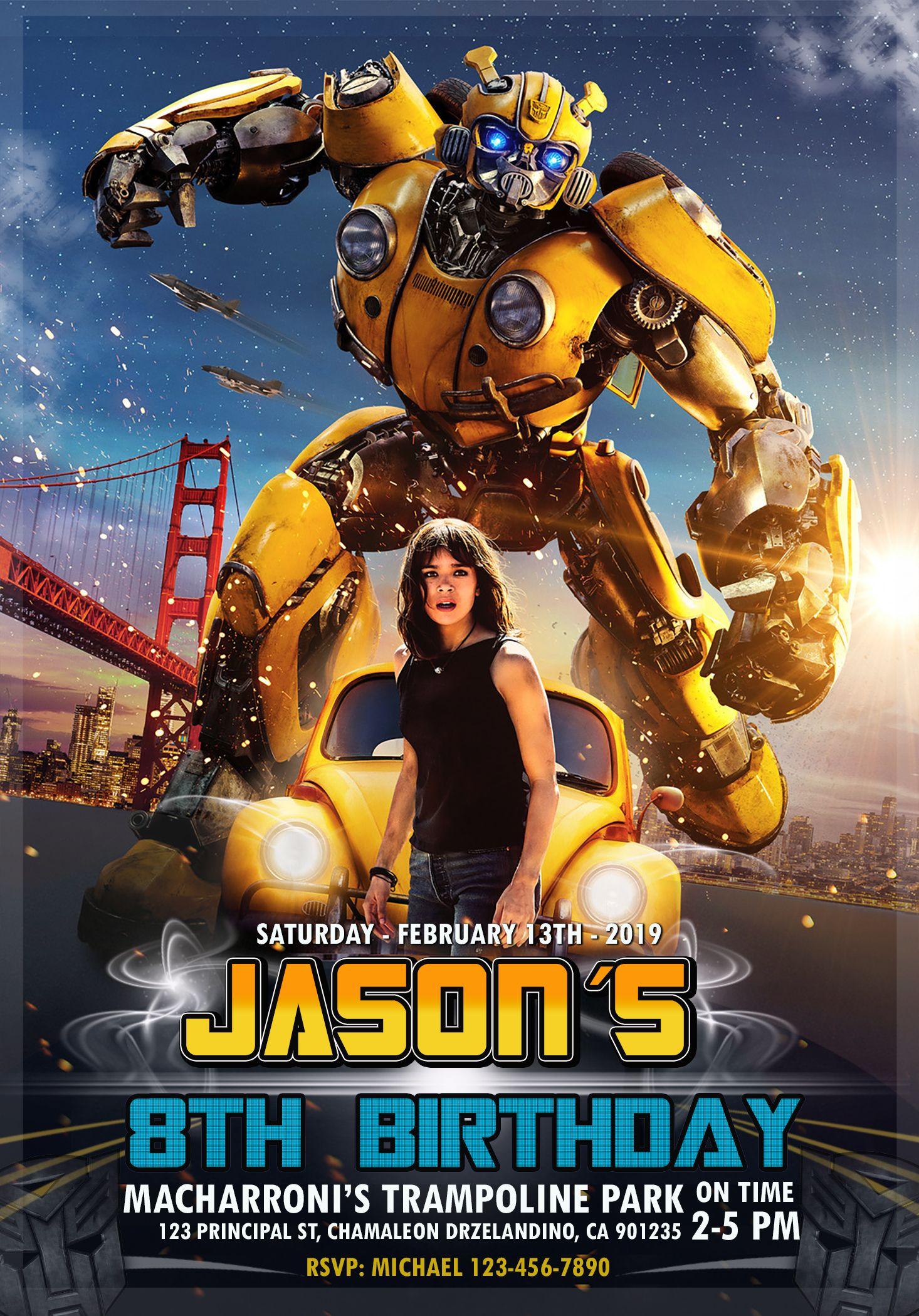 Bumblebee Transformer Movie Birthday Invitation Oscarsitosroom Transformers Movie Movie Posters Transformers Birthday Parties