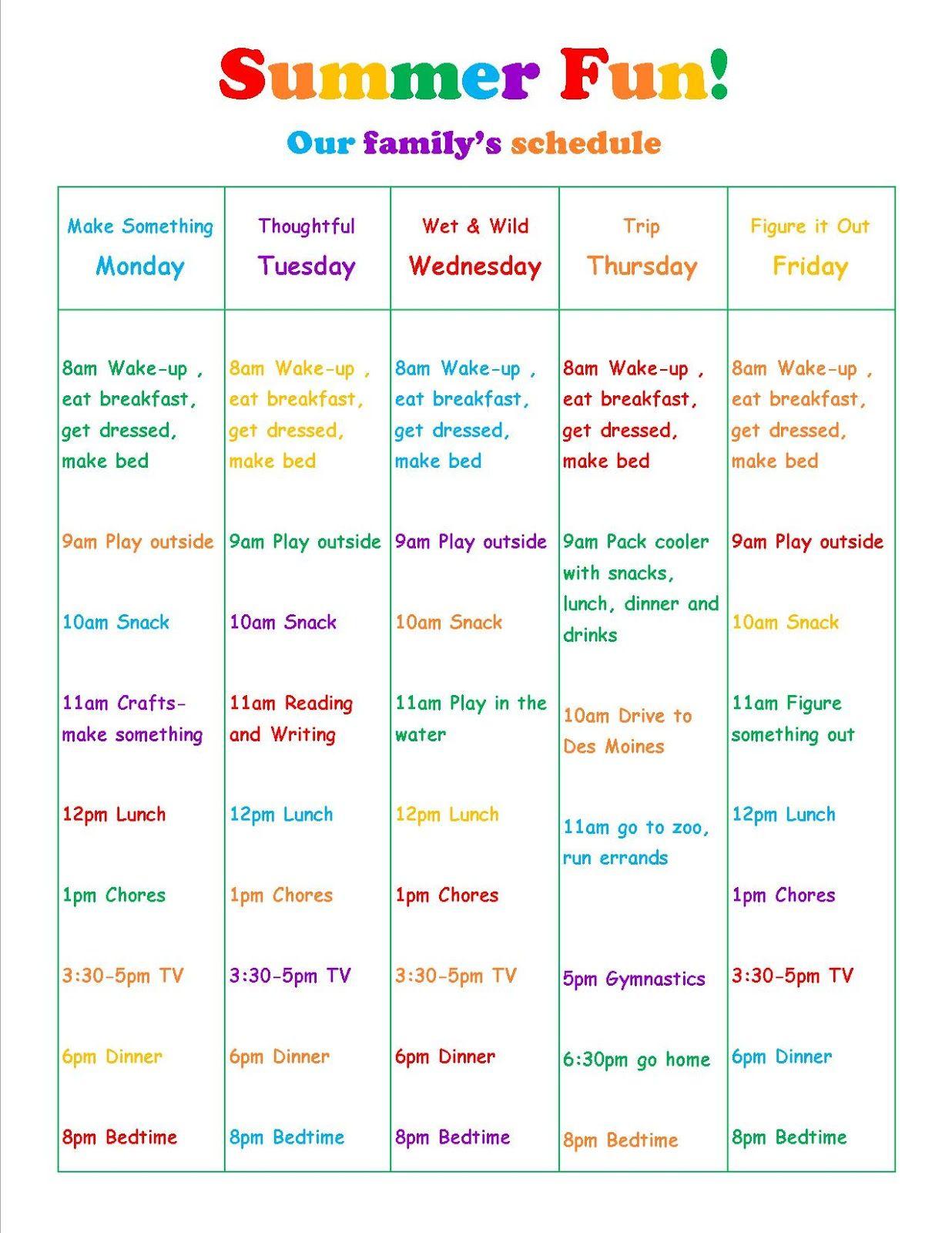 summer vacation daily schedule kids summer schedule summer
