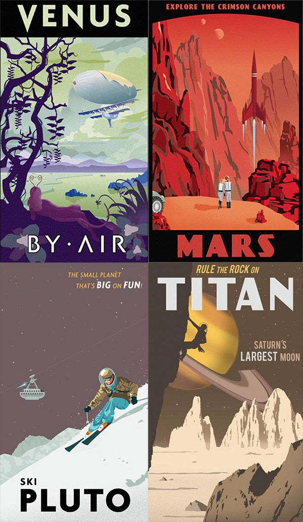 30 Illustrated Travel Posters For Fantasy Destinations Space Travel Posters Space Poster Travel Posters