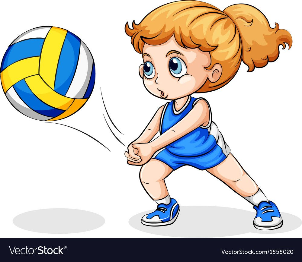 A Caucasian Girl Playing Volleyball Vector Image On Vectorstock Volleyball Drawing Caucasian Girl Volleyball