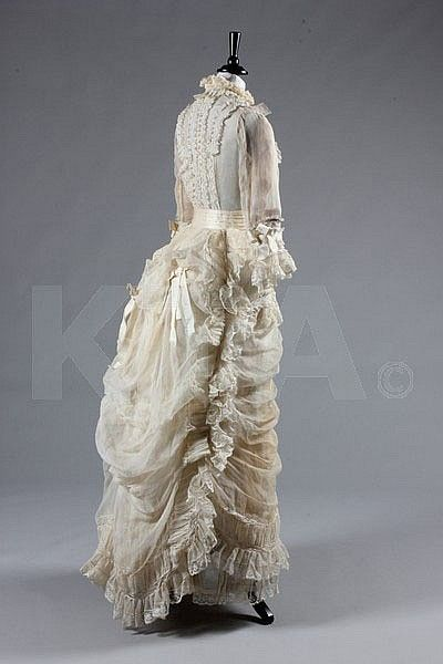 A fine ivory organza and Valenciennes lace gown, late 1870's.