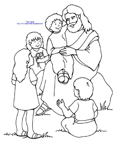 Coloring Page Lds Jesus Blessing Children