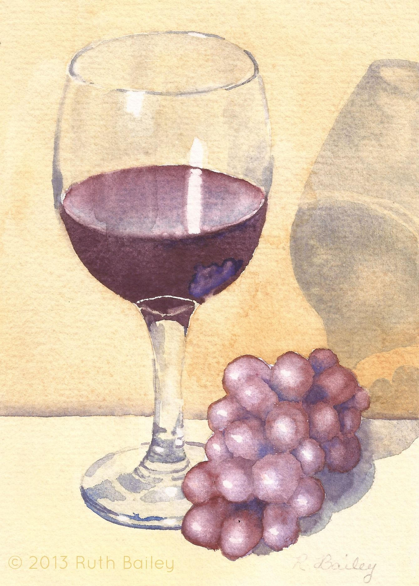 Glass of Wine and Grapes | Watercolor and Paintings