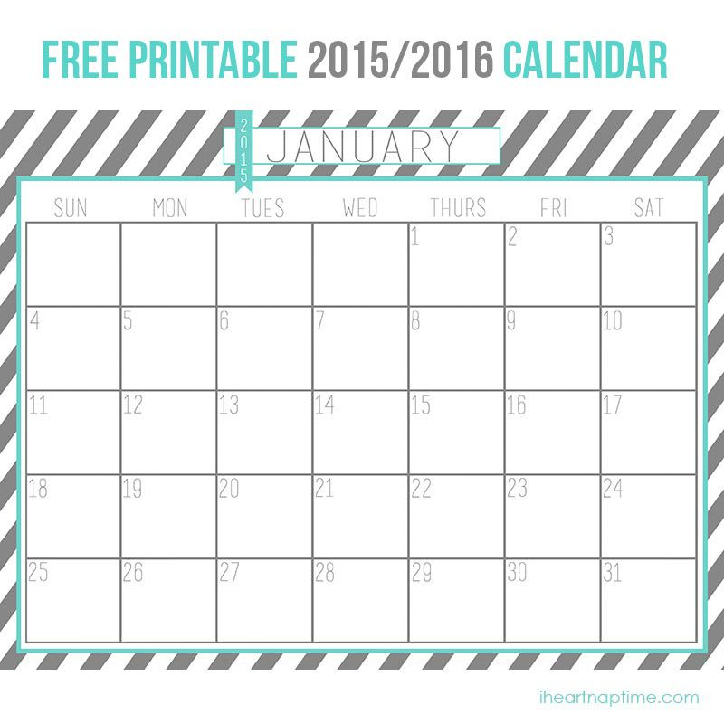 2015 2016 Free Printable Calendar On Iheartnaptime