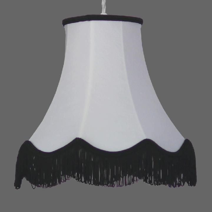 Http Www Imperiallighting Co Uk Modern Lamp Shades Zorita White Lampshade With Black Fringe Html White Lamp Shade Modern Lamp Shades Traditional Lamp Shades