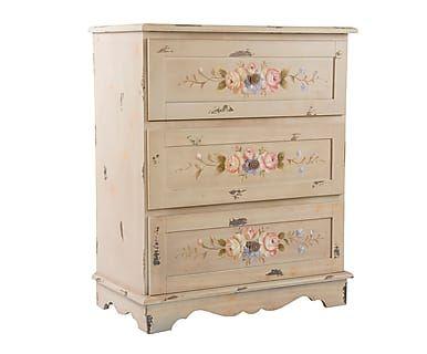 Cajonera de madera de pino Floral - beige | Decoración de muebles ...