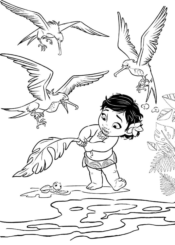 Baby Moana Coloring Pages Designs Trend
